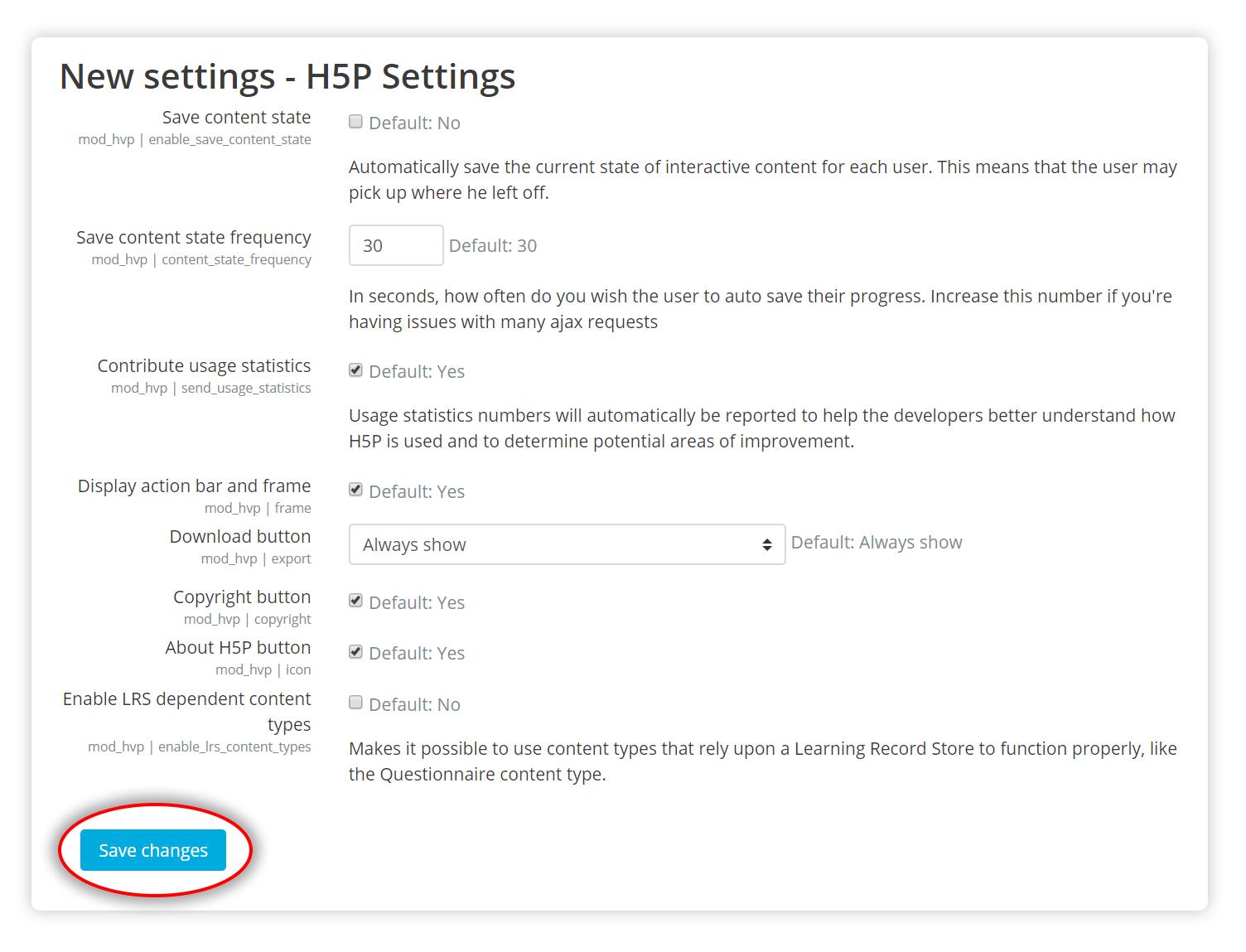 H5P Settings