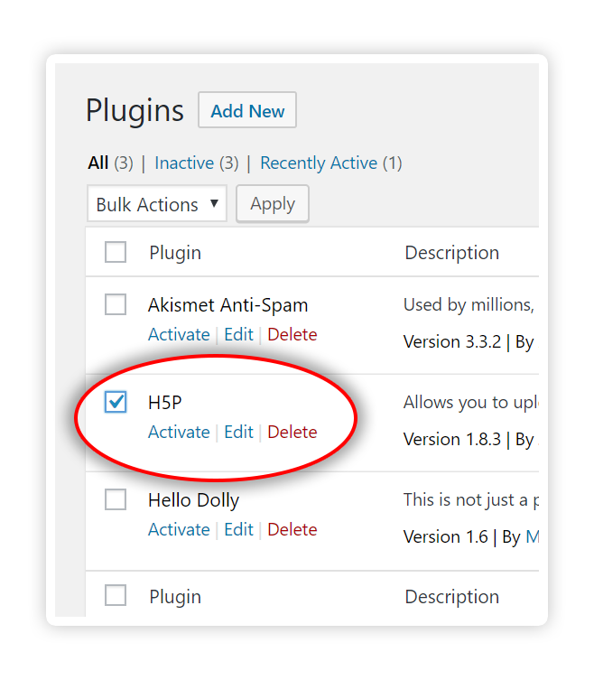 Activate H5P Plugin - Wordpress