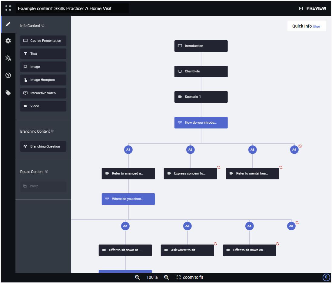 Screenshot of the authoring tool