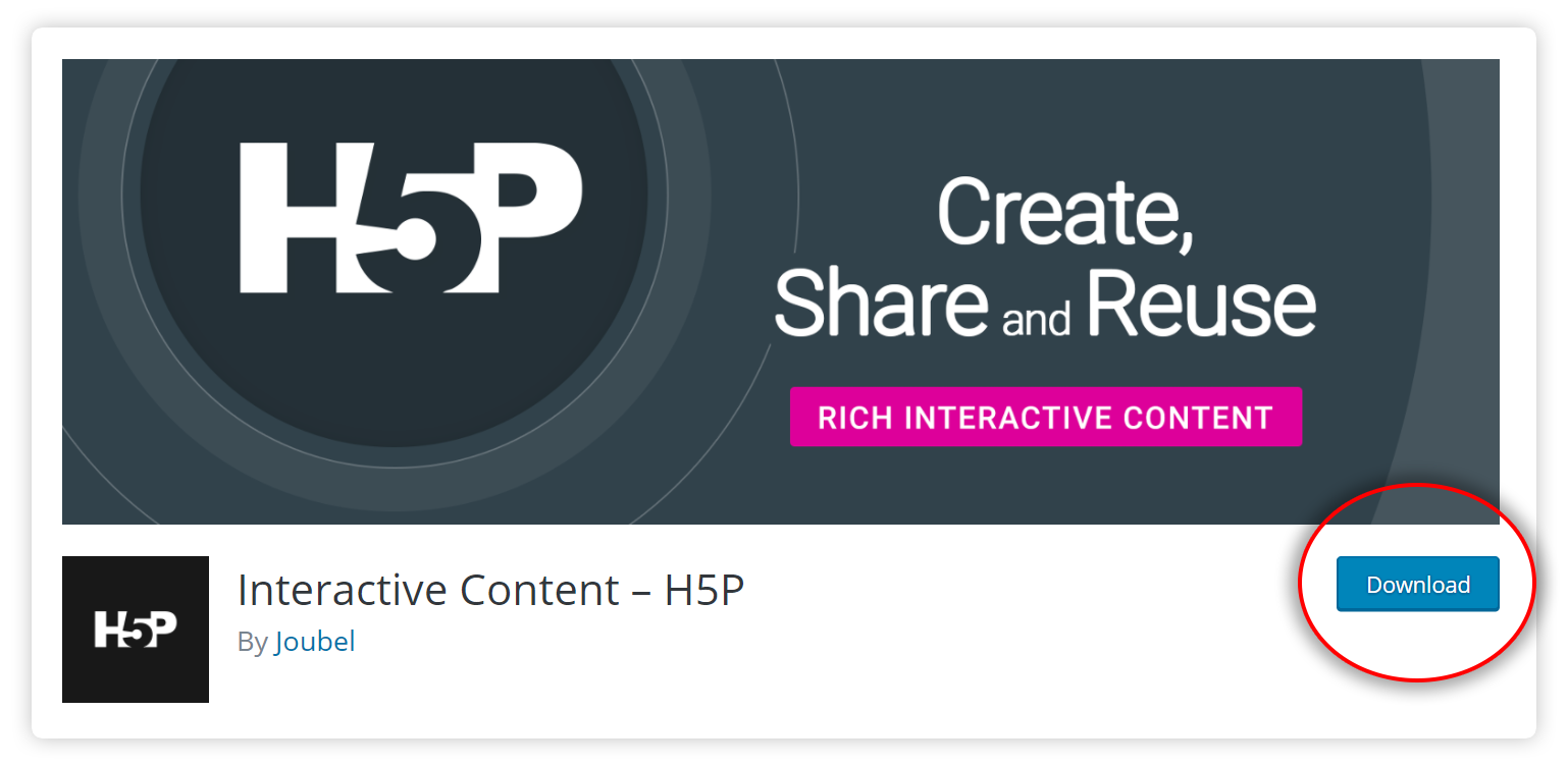 Download H5P plugin from wordpress.org