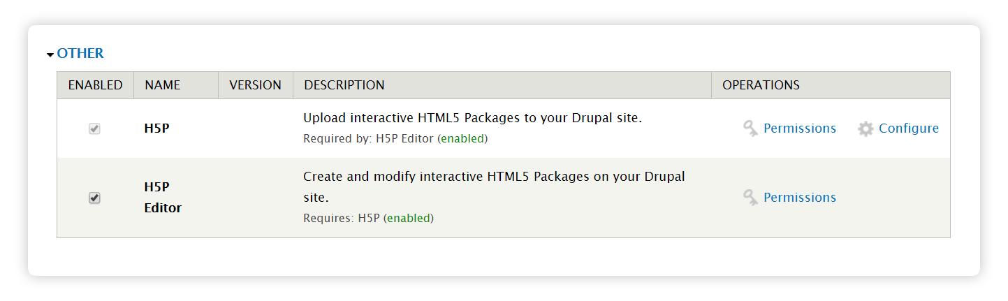 Enable H5P module Drupal