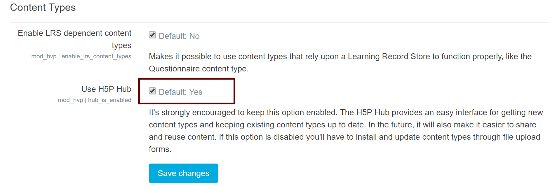 Image of Enable Hub option circled in Moodle settings