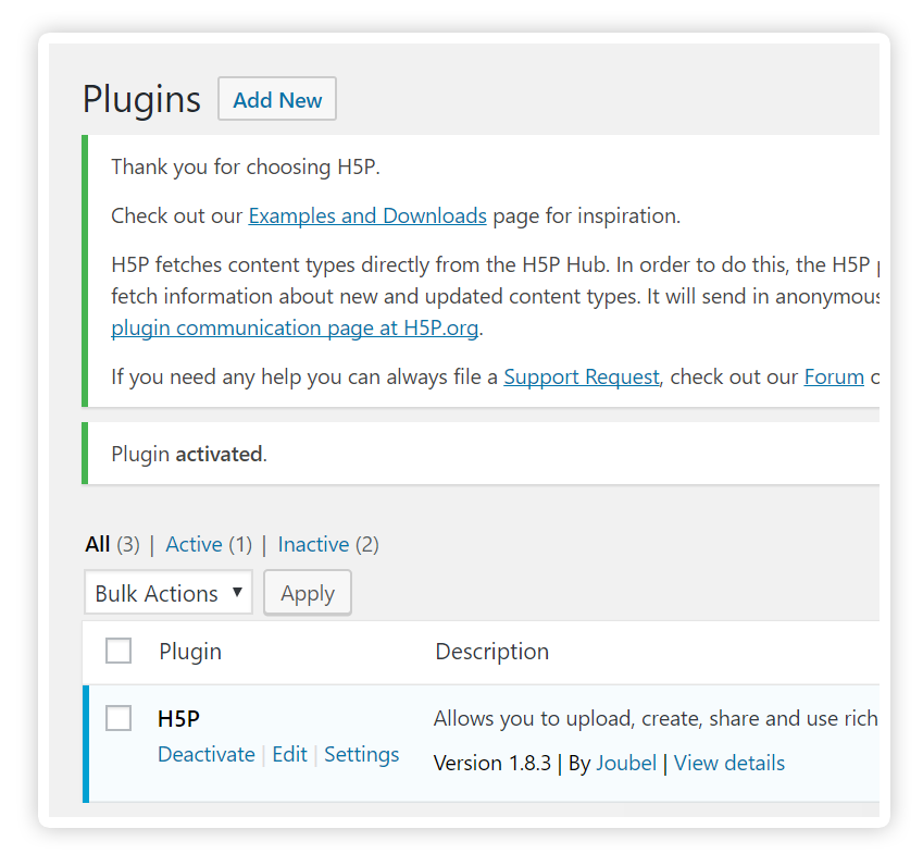 H5P in the list of installed plugins