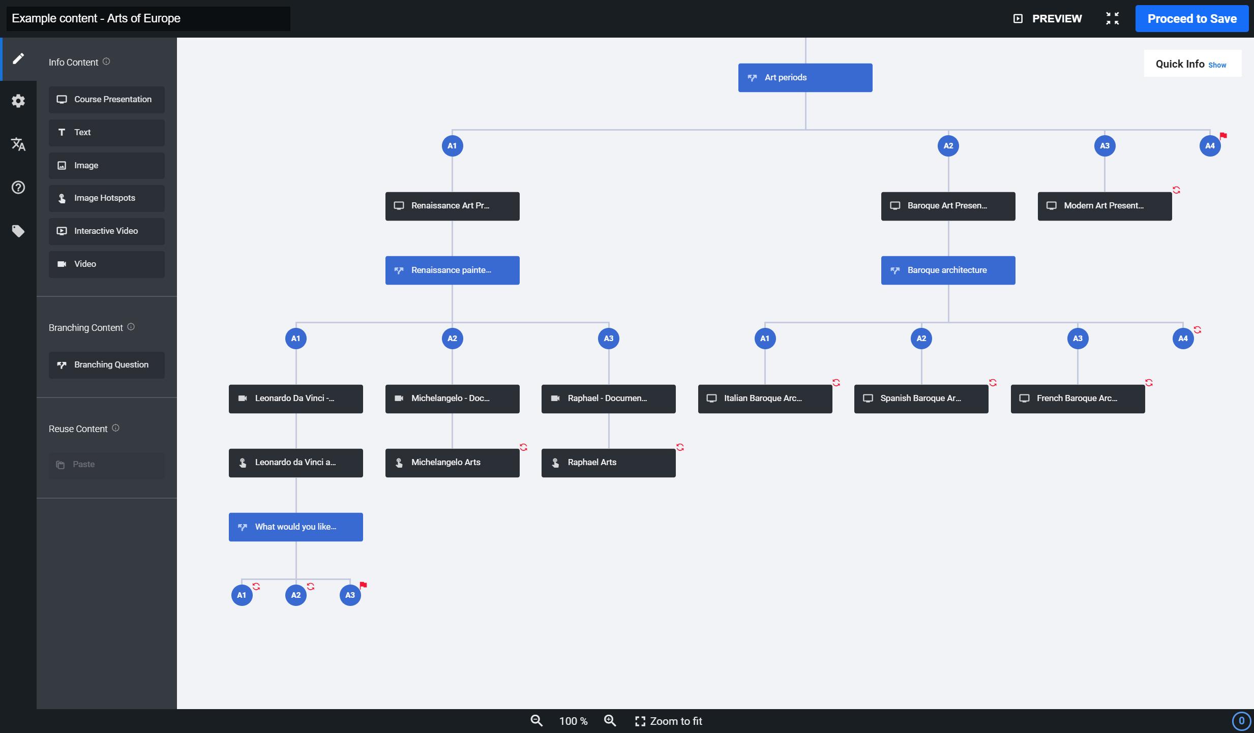 Branching scenario in a full-screen mode