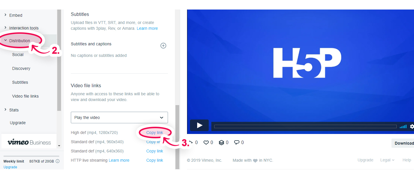 How to use Vimeo Pro videos in Interactive Video | H5P