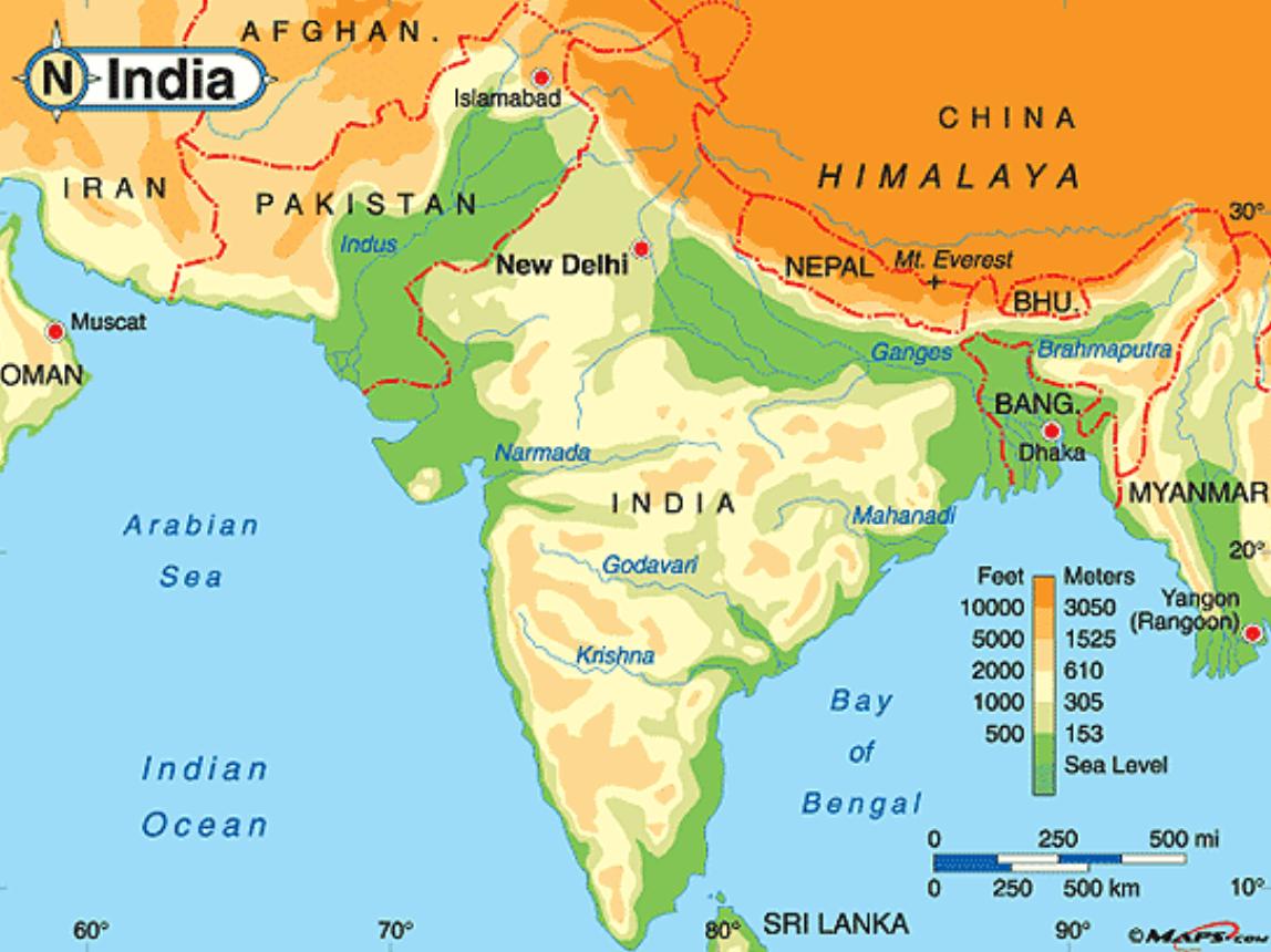 Hindu Kush Mountains Physical Map
