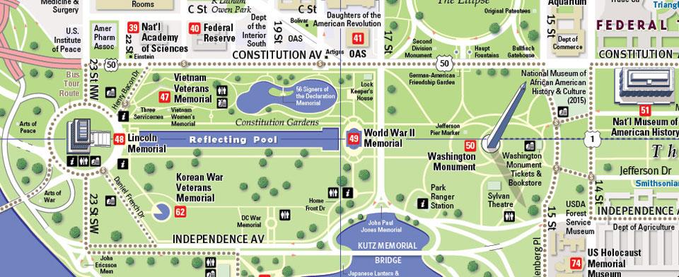 Washington D.C. Monument Map